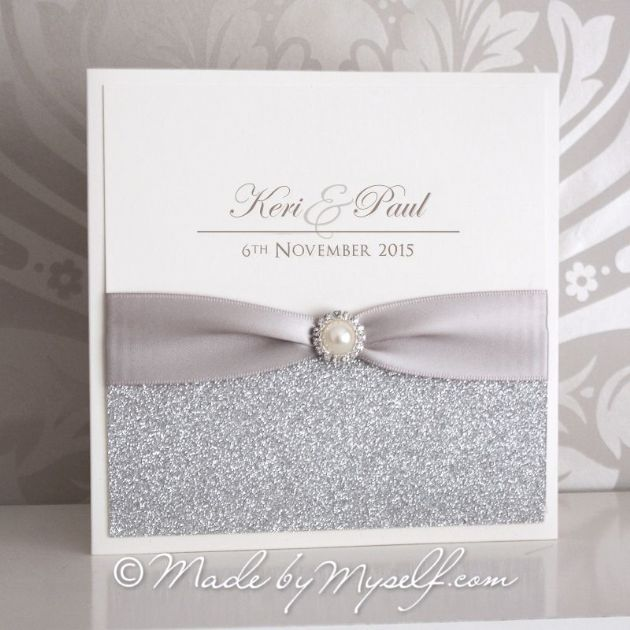 'Elegance Glitter' Pocketfold Wedding Invitation